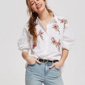 Topshop embroidered flower blouse